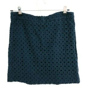 J.Crew Navy Blue Eyelet Mini Skirt